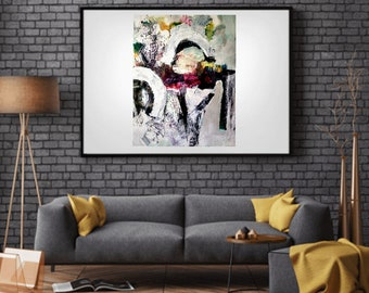 Graphic Bold Brush Strokes Modern Abstract Art Black and White
