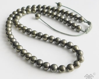 Pyrite necklace - Mens necklace - Beaded necklace - Pyrite beads