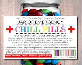 Revered image within printable chill pill label