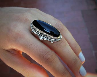Black onix ring - Sterling silver ring - Ethnic ring