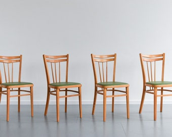 Set of Four Vintage 1960s Wooden Kitchen Chairs with Green Vinyl Fabric