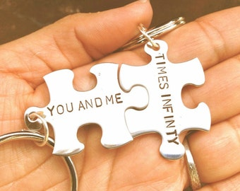 for him and her, couples key chain, puzzle key chain, you and me time infiity,custom key chains, for the bride and groom, chirsmas gifts