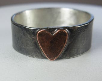Heart Ring Made To Order Sterling Silver w Copper Heart Wide Silver Band Oxidized Mixed Metal Rustic Heart Fathers Day Gift For Her Unisex