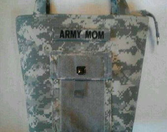 Army Mom customized Handbag - gift for mom - Army mom purse - Army wife handmade bag - gift for her - gift for sister - custom Army handbag
