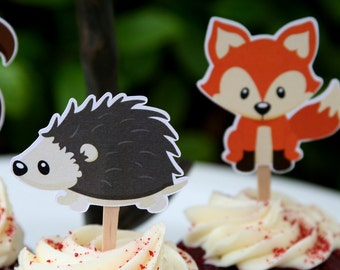 DIY Printable Cupcake Toppers - Woodland Creatures Party- Woodland Baby Shower - Woodland Birthday Party -  Birthday Party-  6 Images