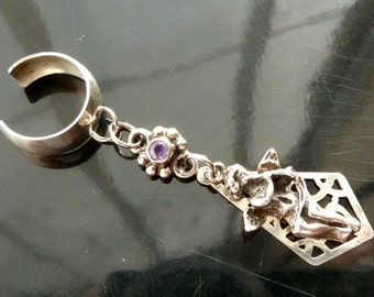 Angelic Music Ear Cuff Angel with Faceted Amethyst in sterling silver OOAK jewelry