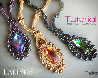 Tutorial for beadwoven necklace 'Dalinda' - PDF beading pattern - DIY