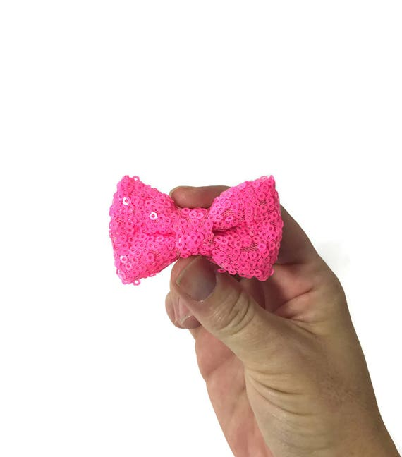 Dog Bow Headband    Dog Neck Tie    Bowtie for Dog    Pet Bow Tie    Pink Sequin Bow