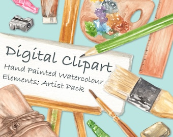 Watercolor Clipart, Digital Clipart Elements High Quality Hand Painted Watercolor Elements, Transparent Background - PNG Files - Artist Pack