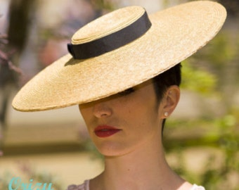 The Summer Vogue Hat - Natural Straw Wide Brim - Ascot Hat - Formal Hat for Races w/ Dark Navy Ribbon - Ladies Day Hat - Weddings