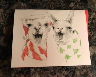 Fa La Llamas Christmas Card, Llamas Singing Christmas Card, Llama Holiday Card, Hand drawn card, Handmade Card