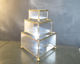 Set of Three Glass and Brass Triangle Boxes Jewellery Trinket Display