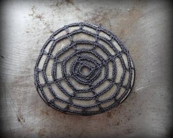 Crocheted Stone, Handmade, One of a Kind, Unique Decorative Doily, Rock, Charcoal Thread, Bohemian Beach, Miniature Art, Collectible Monicaj