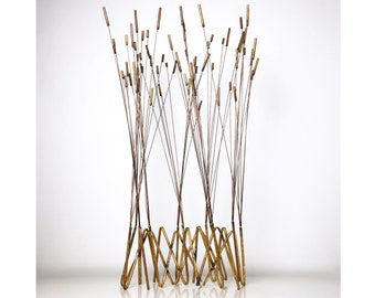 "38"" Tall Kinetic Cattail Sculpture, David Grossman attributed 1960's"