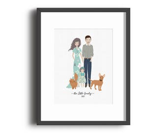 Custom Family Portrait Print, Mother's Day Gift, Anniversary Gift