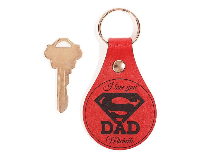 Dad Keychain, Dad Keyring, Leather Key Chain, Dad Key Fob, Leather Keyring, Leather Key Fob, Unique Fathers Day Gift