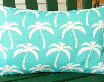 OUTDOOR Aqua Lumbar Pillow Cover Nautical Decorative Throw Pillow Coastal Accent Cushion Home Decor Patio Cushion