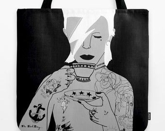Colourful David Bowie Tote Bag printed by Emilythepemily.