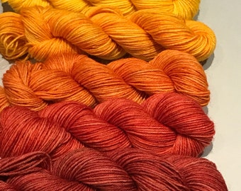Autumn Leaf Gradient Hand Painted Mini Skein Set with Surprise Progress Keeper 5 x 20g 4ply Hand-Dyed Sock Yarn Indie Dyed
