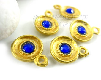 5 pc Dished Mini Gold Disc Charms with Royal Blue Rhinestone, Turkish Jewelry