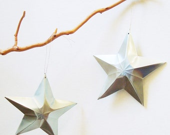 Aluminum Can Stars Christmas Ornaments Gift Topper Upcycled Recycled Plain Silver