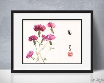 Purple Carnations - sumi-e watercolor painting - 12x16 (Print)