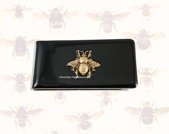Bee Money Clip Inlaid in Hand Painted Enamel Gothic Inspired Insect with Custom Colors and Personalized Options Available