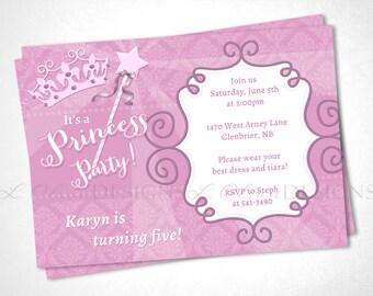Pretty Princess Party Birthday Invitation - Pink - DIY Printable