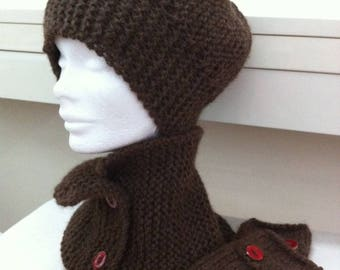 All Brown scarf-neck circumference, hat and fingerless gloves, alpaca wool