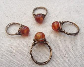 Fire Agate Ring / Fire Agate Jewelry/ Chakra stone ring / gemstone ring / agate stone ring / agate jewelry / fire agate stone jewelry