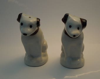 Nipper Brown and White Salt and Pepper Shakers Vintage