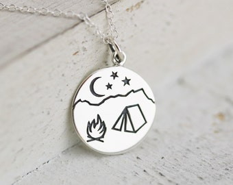 Camping Necklace - Sterling Silver Campfire Mountain Scene Pendant - Camping Jewelry - Camper Necklace - Nature Jewelry - Outdoor Lover Gift