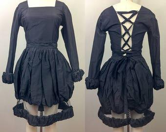 Vintage 80s 90s Black AVANT GARDE Bubble Mesh Skirt n Lace Up Crop Top Mini Dress Set S/M