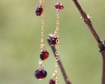 Red Mozambique Garnet 14k Gold Filled Earrings January Birthstone Long Dnagly Chain Delicate Pomegranate - Chloe