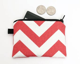 Women's Card Wallet, Red Mini Makeup Pouch, Small Chevron Zipper Wallet, Fabric Coin Purse  - coral red chevron stripes