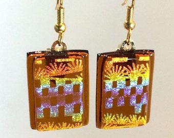 Dangling Fused Art Glass Earrings Dichroic Amber Gold