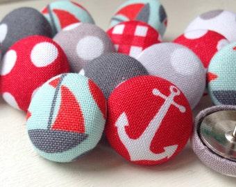 Pushpins,15 Push Pins,Thumbtacks,Thumb Tacks, Nautical Push Pins, Nautical Decor, Boat Pushpins,Red and Gray, Nautical,Anchor Pushpins,Gift