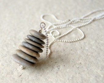 Zen Cairn Necklace with silver plated mini ball chain