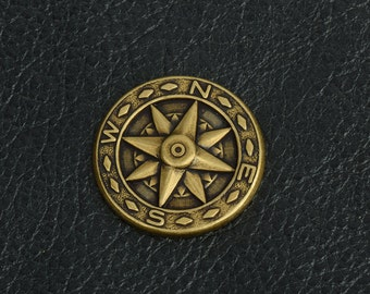 Compass Charm, Brass antiqued, package of 6 each  15251BR