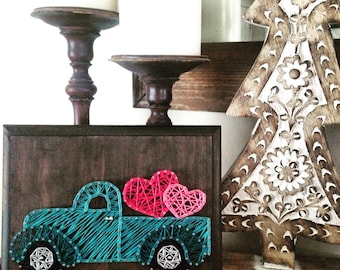 Valentine's day string art love truck