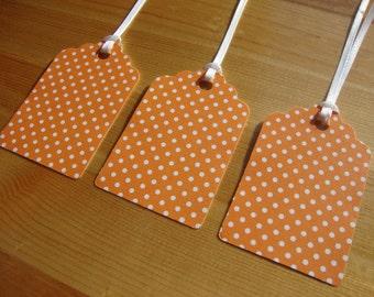 Orange Polka Dot Tags - Qty: 12 - Treat Tags - Gift Tags - Hang Tags