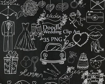 """Doodle chalkboard wedding clipart: """"WEDDING CLIP ART"""" Bridal Clipart Wedding dress tuxedo clipart diy clipart wedding graphics cake shoes"""