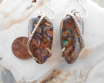 Cabochons-Yahwa Nut Opal Silver Wrapped Earrings