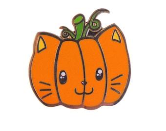 Jack O'Nyantern Enamel Pin - halloween, pumpkin, cat, spoopy  gift