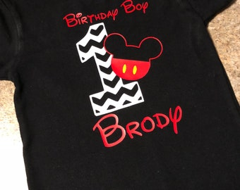 Mickey Mouse Birthday Shirt, Personalized 1st Birthday Shirt, Boys First Birthday Shirt, Boys Birthday Shirt