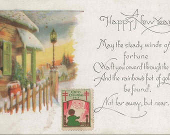 Antique New Years Postcard and Poem With Snowy Village Scene and a Vintage Easter Seal Stamp