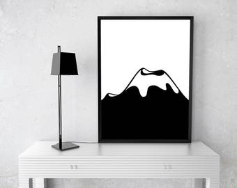 Bedroom Picture Mountain Minimalistic Print