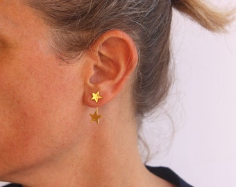 Star ear Jackets, Gold stud earrings, Two sided earrings, Star earrings, Holiday gift.