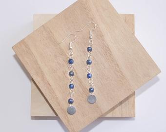 Lapis Lazuli Link Earrings // Boho Earrings // Blue Stone Bead Earrings // Silver Dangle Earrings // Lapis Lazuli Drop Earrings // Handmade