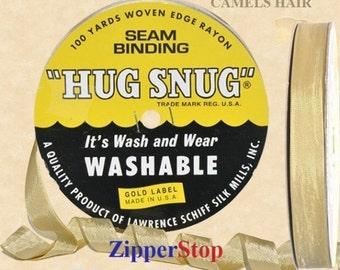 "CAMELS HAIR 020  - Hug Snug Seam Binding - 100 yard roll 1/2"" Wide - 100% Woven-Edge Rayon - Sewing Trim & Craft Supply - Washable"
